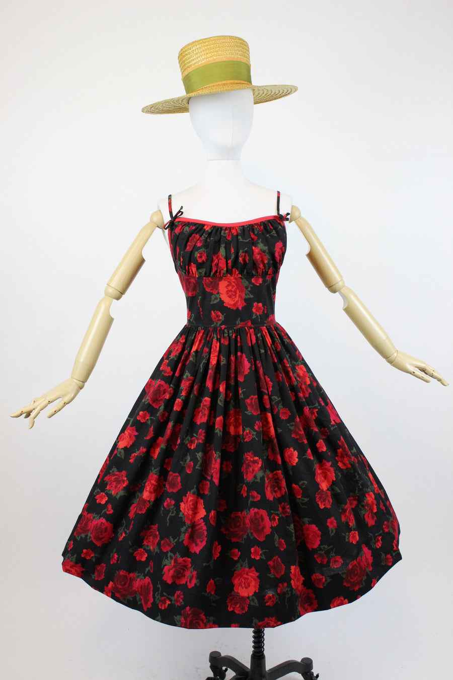 1950s rose print fabric dress small | vintage red rose sun dress | new in