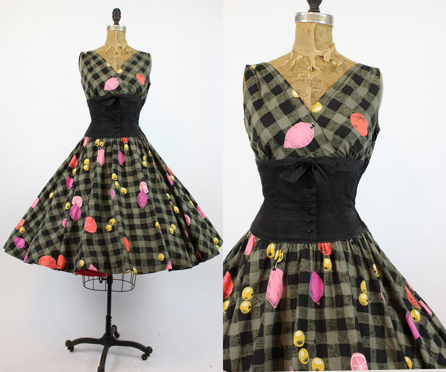 1950s Minx Modes novelty print fruit dress xs  | vintage cotton dress | new in