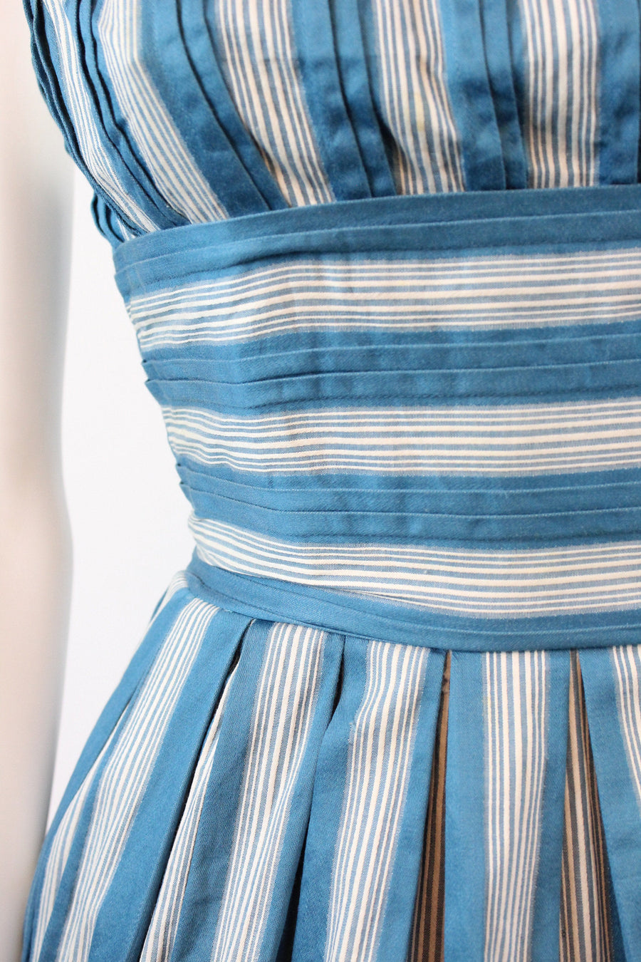 1950s striped cotton halter dress xxs | vintage POCKETS full skirt dress | new in