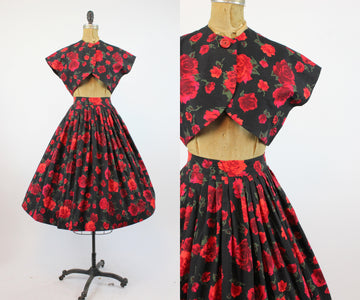1950s rose print fabric skirt and bolero small | vintage red rose novelty print | new in