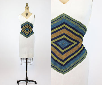 1960s Neiman Marcus chevron waist dress xs | vintage linen wiggle | new in