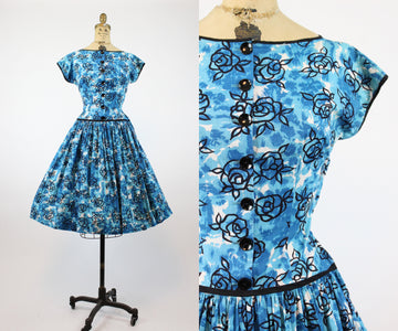 1950s Jean Leslie rose print dress small | vintage floral dress | new in