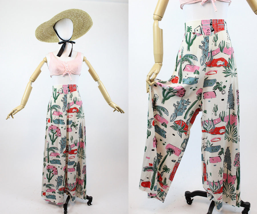 1940s novelty desert print fabric trousers xs | vintage cactus pajama pants | new in