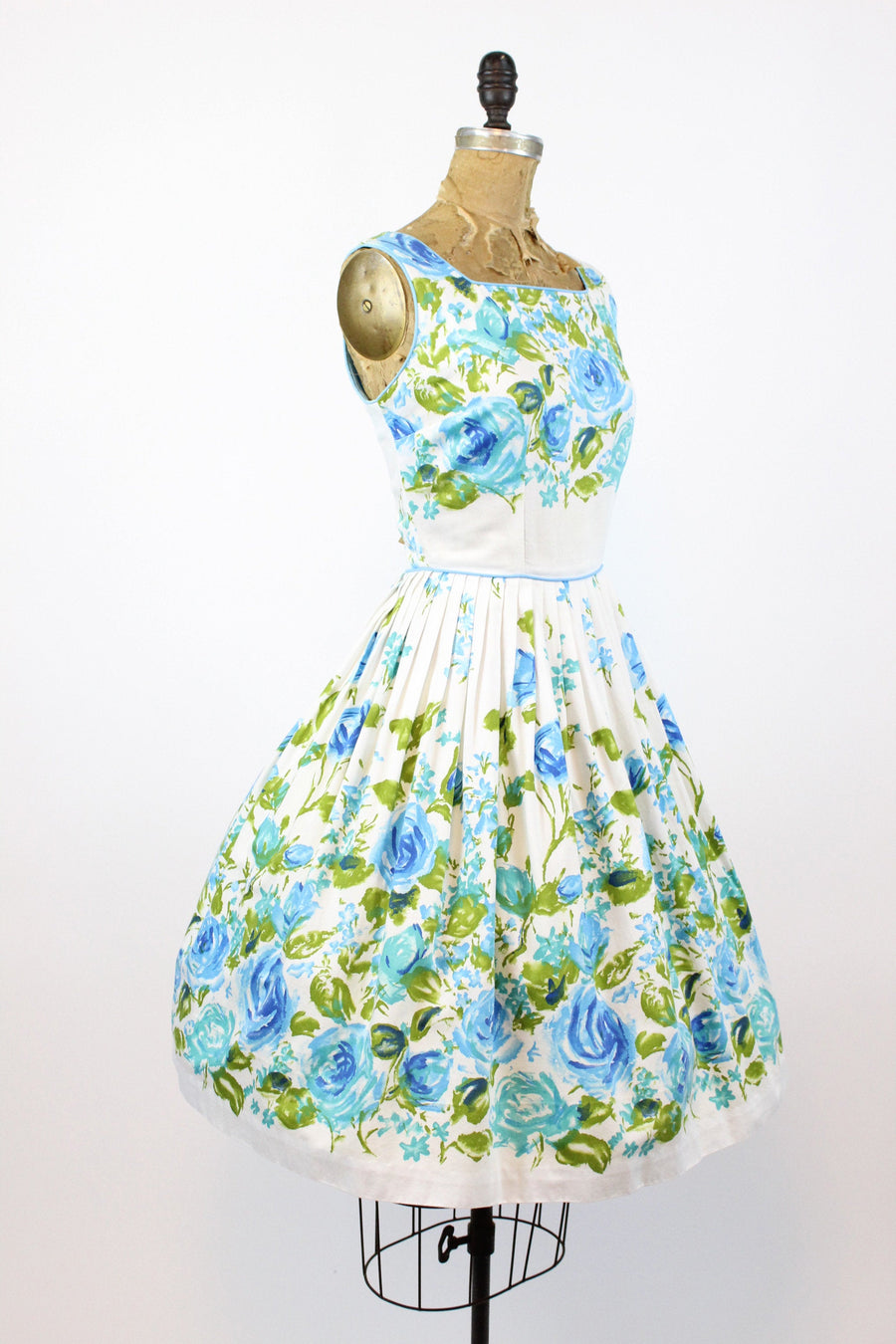 1950s blue rose cotton dress xs | vintage floral dress | new in