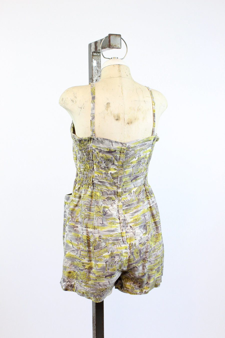 1950s novelty print romper playsuit medium | vintage cotton swimsuit | new in