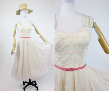 1950s Mitzi Morgan embroidered organza dress xs | new spring