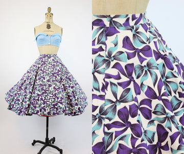 1950s bow print cotton pique circle skirt xxs | vintage novelty skirt | new in