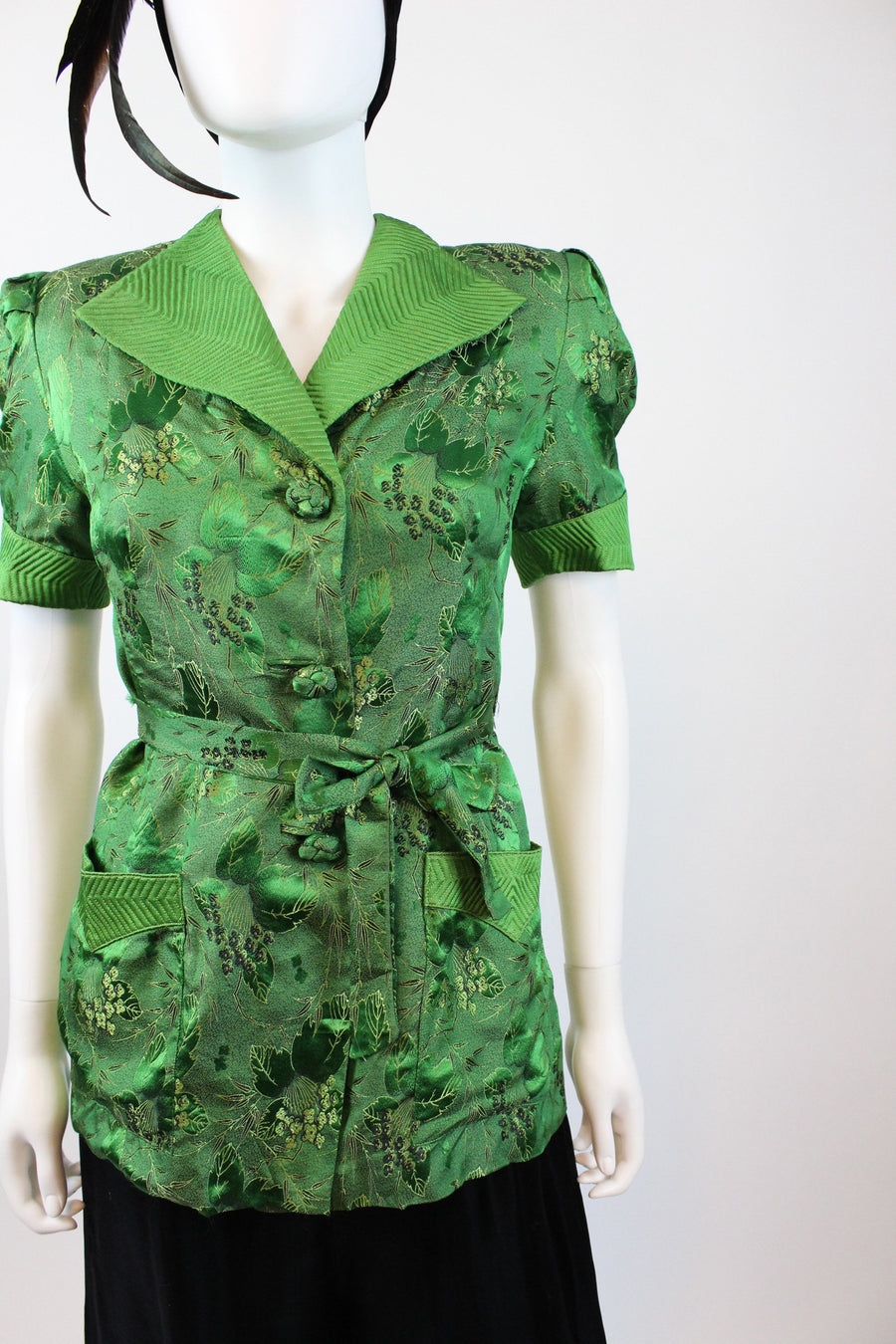 1940s green silk jacket and pants small | vintage three piece set | new in