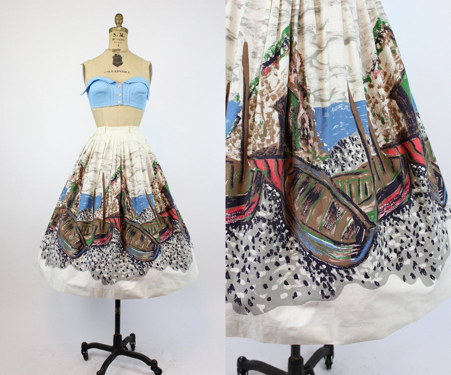1950s Boston harbor boat print skirt small | vintage novelty cotton skirt | new in