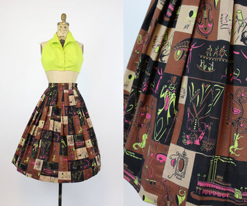 1950s AAA New Orleans print skirt xs | vintage novelty cotton skirt | new in