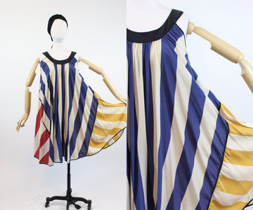 1970s Laura Biagiotti trapeze striped silk dress small medium | new in