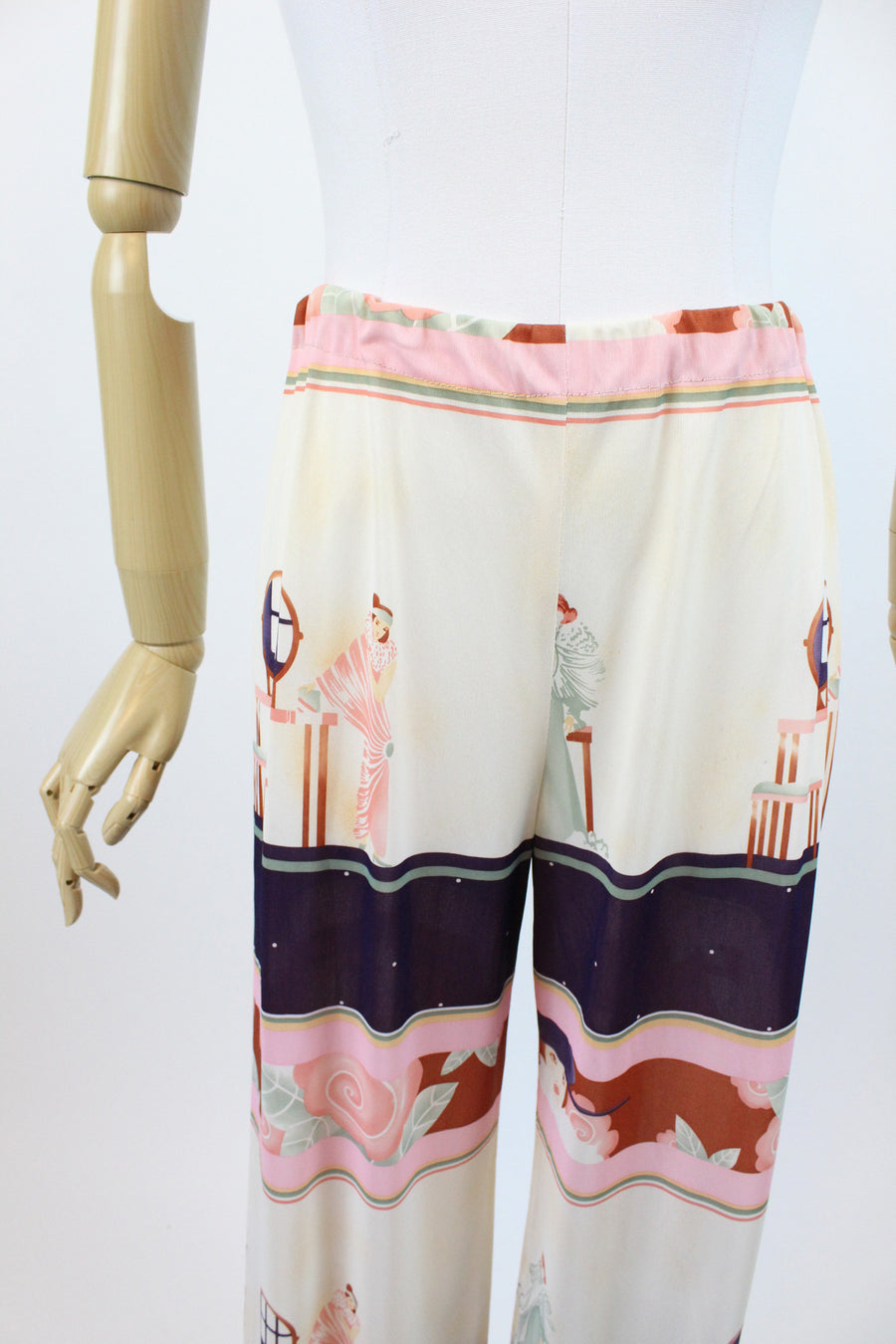 1970s deco girl novelty print pants and blouse small | vintage 1920s print | new in