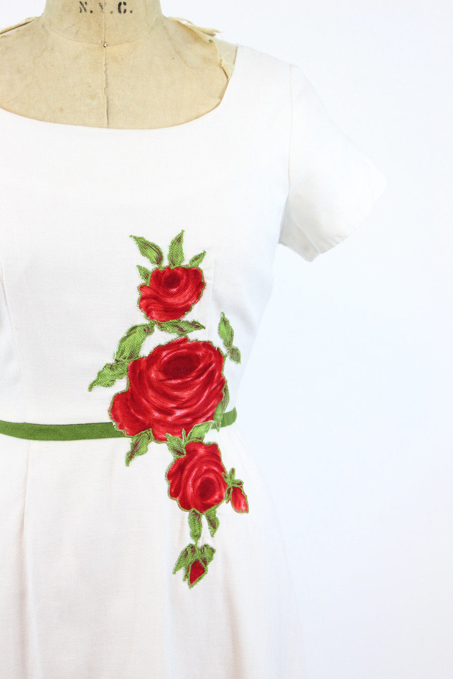 1950s cover girl of miami rose applique dress medium | vintage cotton dress | new in