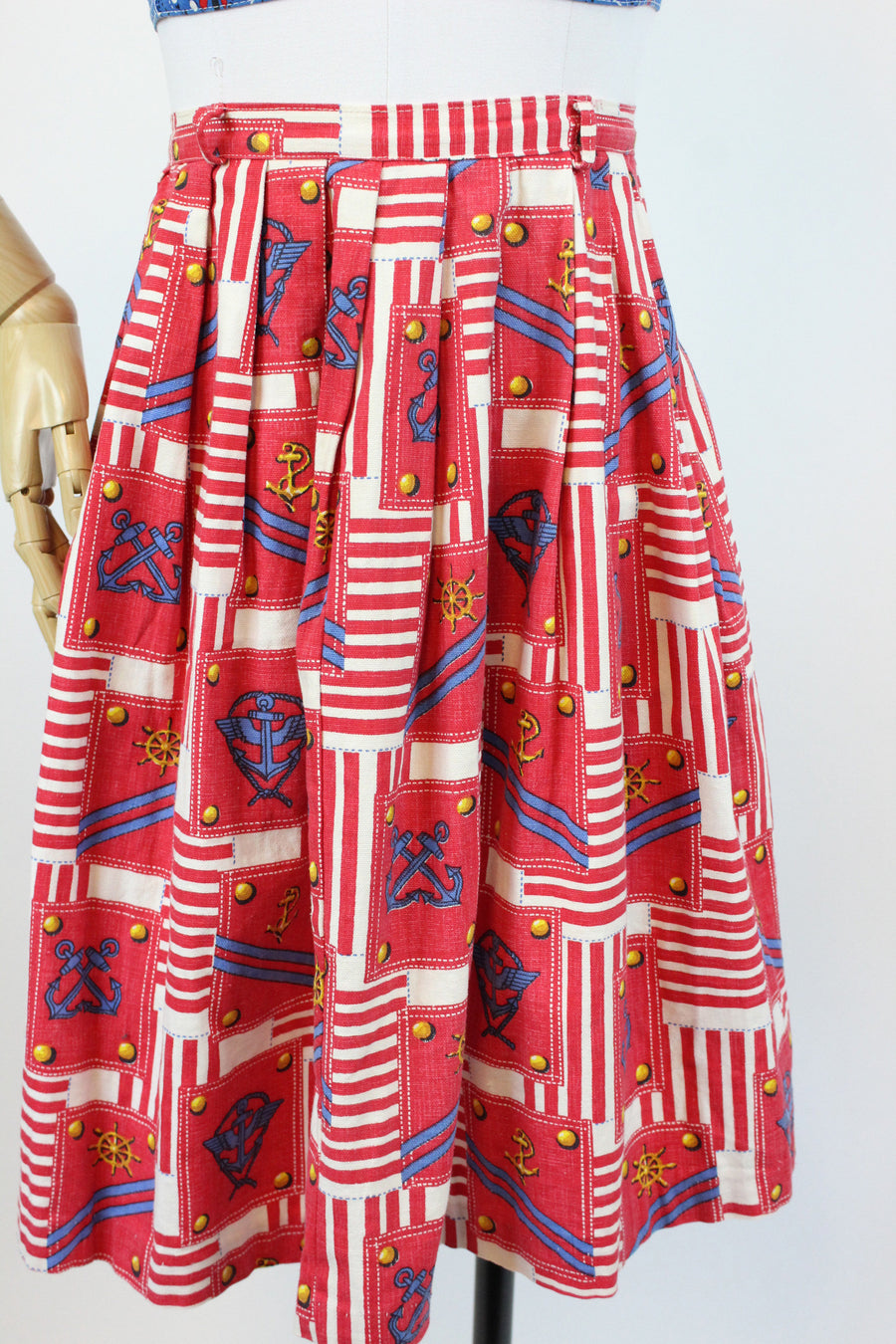 1960s nautical anchor print skirt xs | novelty print cotton skirt | new in