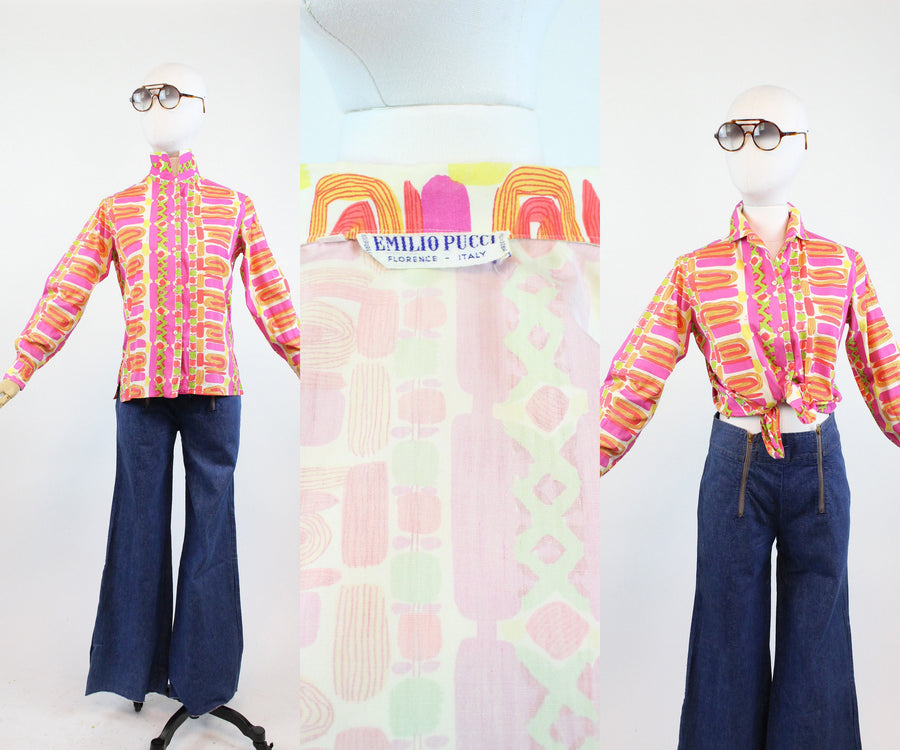 1960s Emilio Pucci blouse small | vintage cotton top | new in