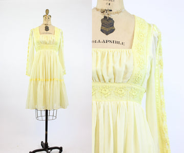 1970s Gunne Sax cotton peasant dress xs | vintage lace dress | new in