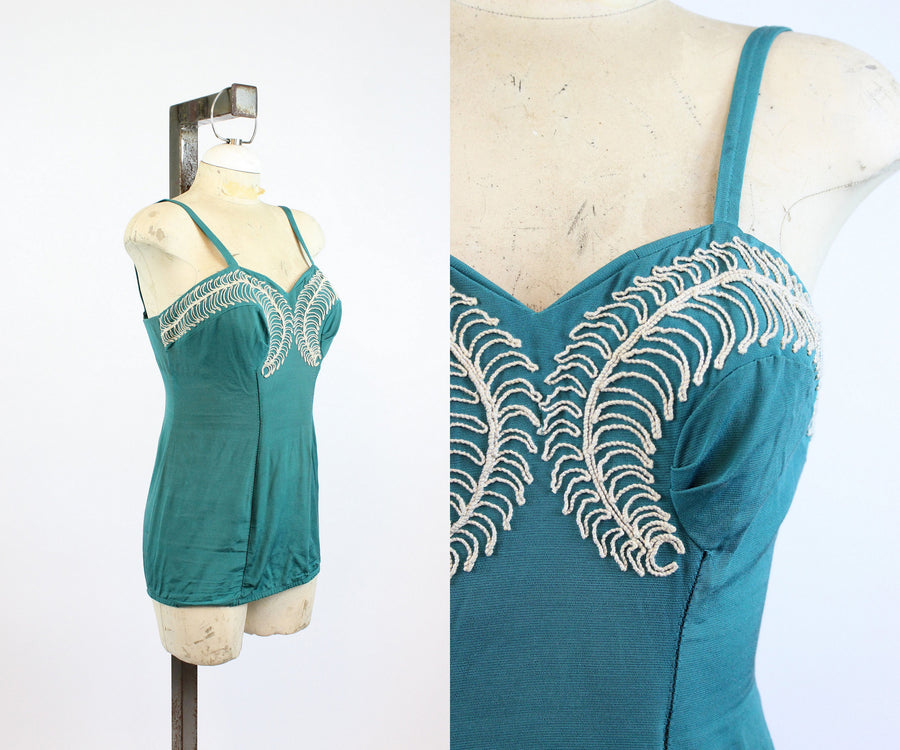 1950s Rose Marie Reid one piece small medium | soutache embroidered swimsuit | new in
