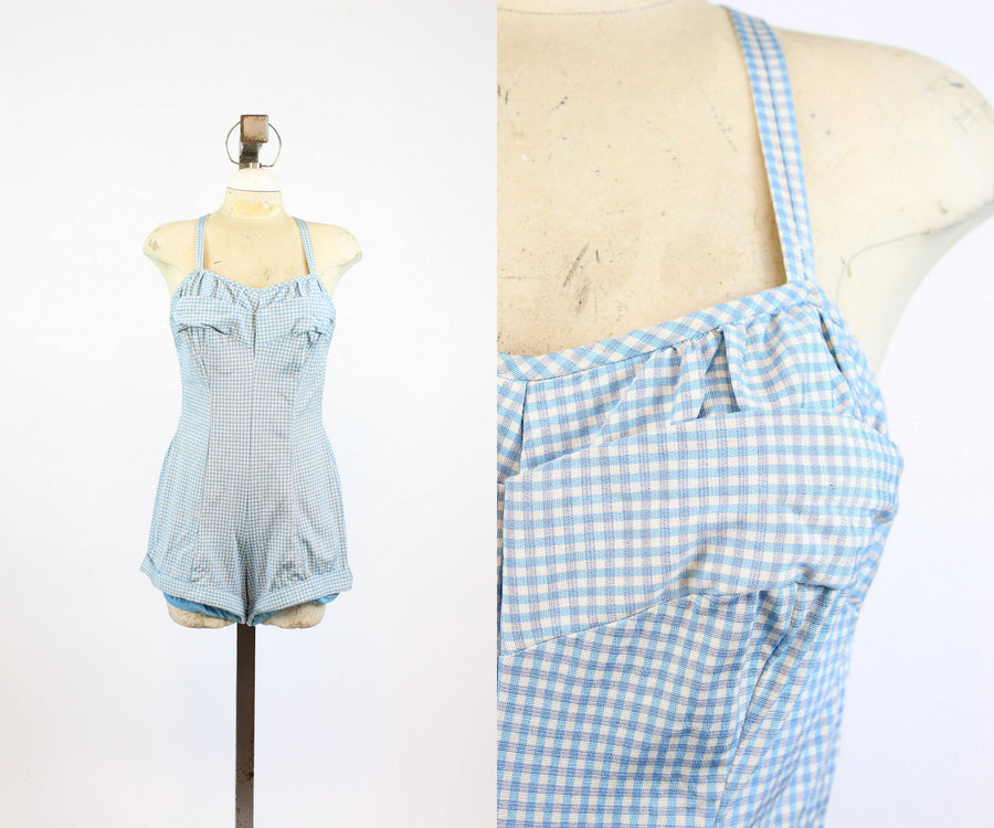 1950s Roxanne one piece swimsuit romper medium | checked swimwear | new in