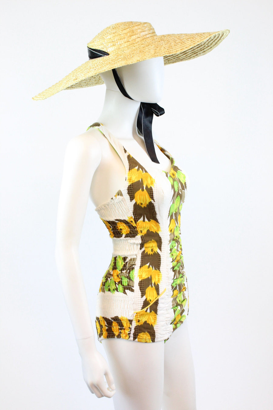 1950s Heinzelmann Orchidee swimsuit small | cotton one piece swimwear | new in