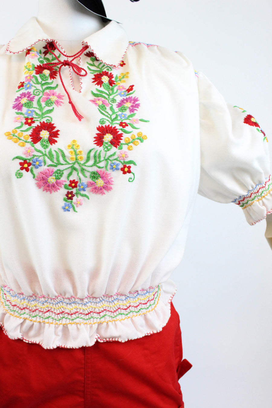 1970s peasant blouse small medium | vintage embroidered top | new in