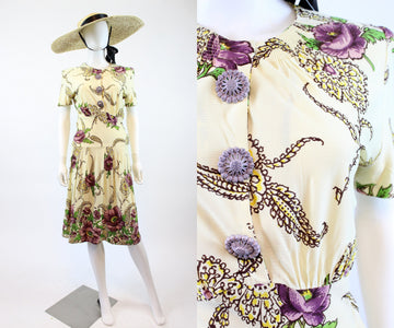 1930s rayon jersey floral dress xs | vintage side button dress | new in