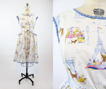 1950s Swirl wrap dress Paris print large volup | vintage novelty print | new in
