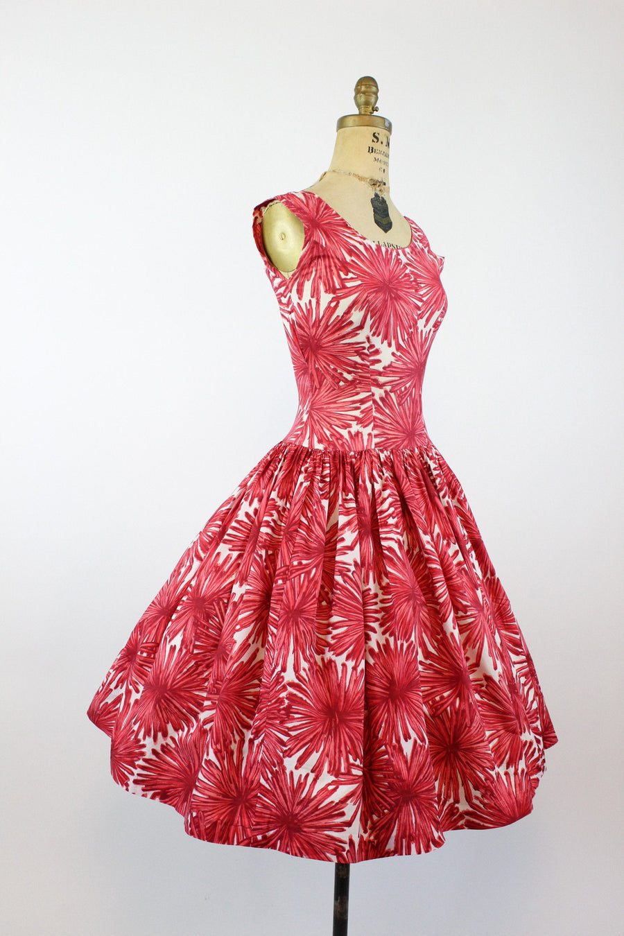 1950s california cotton floral dress xs | vintage dress | new in