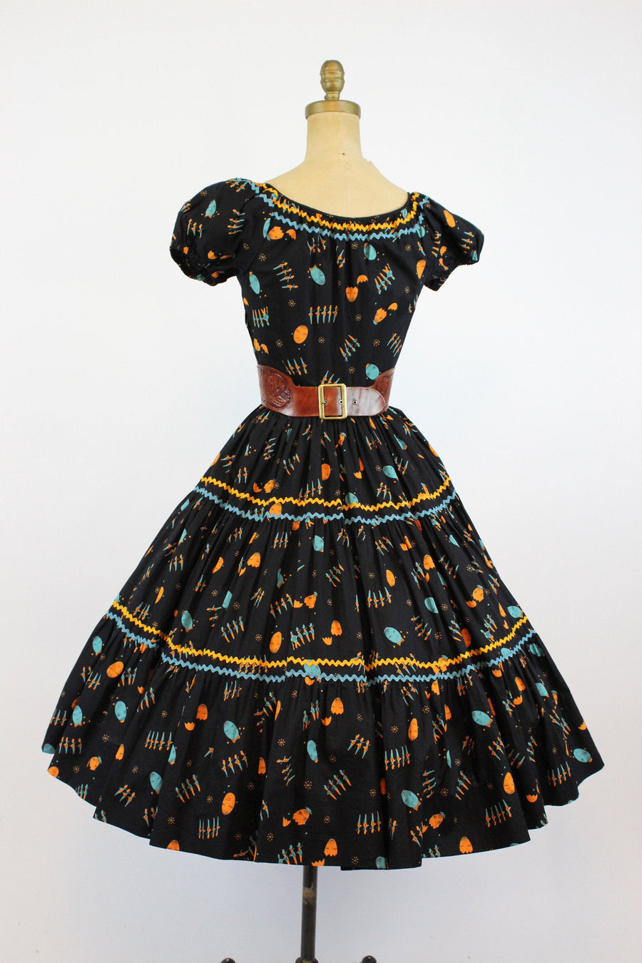 1950s Humpty Dumpty novelty dress xs | vintage cotton peasant dress | new in