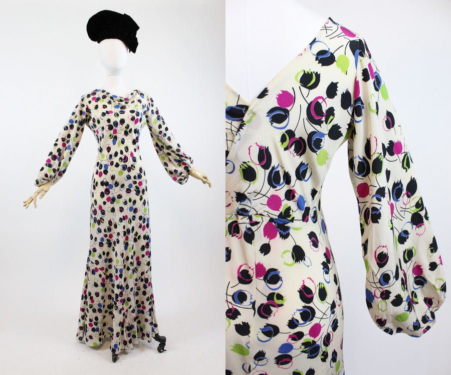 1930s balloon sleeves bias cut dress gown xs small  | new in