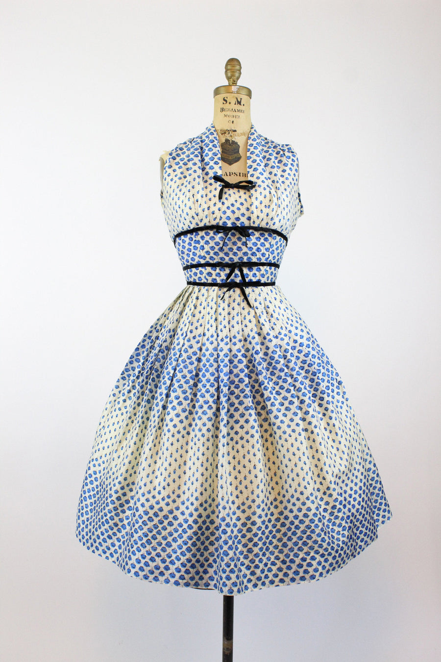 1950s Best & Co blue roses strapless dress xxs | vintage silk dress | new in