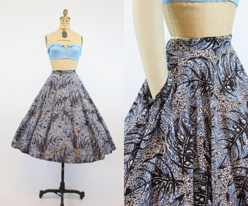 1950s monstera leaf print full circle skirt medium | new in