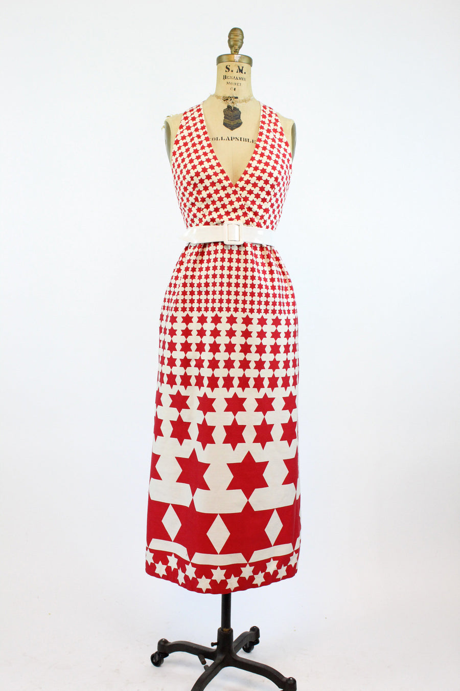 1960s Morton Myles star print dress xs | vintage cotton cut out back dress | new in