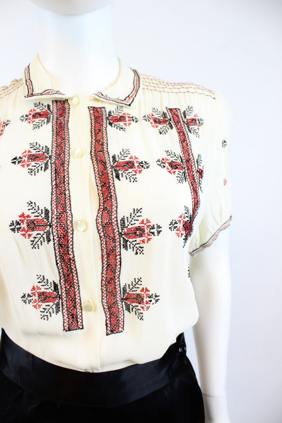 1930s embroidered peasant blouse small | vintage silk top | new in
