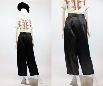 1940s silk pants medium | wide leg trousers | new in