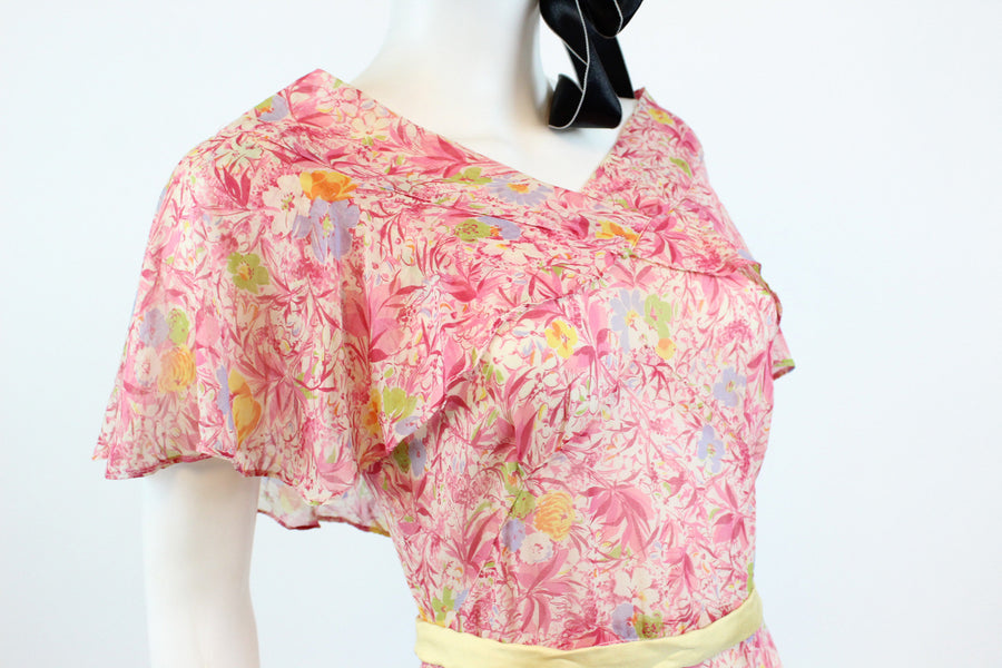 1930s NRA cotton floral dress xs | 1933-1935 vintage cape dress | new in