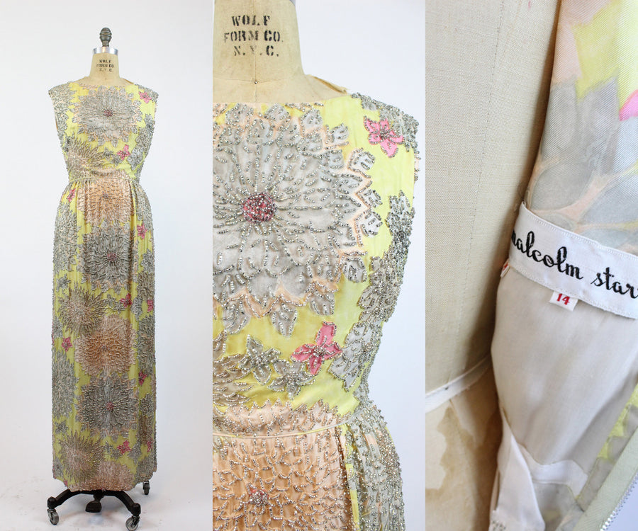 1960s Malcolm Starr beaded gown dress small | vintage silk column dress | new in