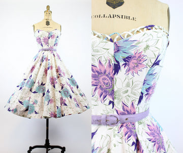 1950s sunflower print cotton strapless dress xs | lattice full skirt | new in