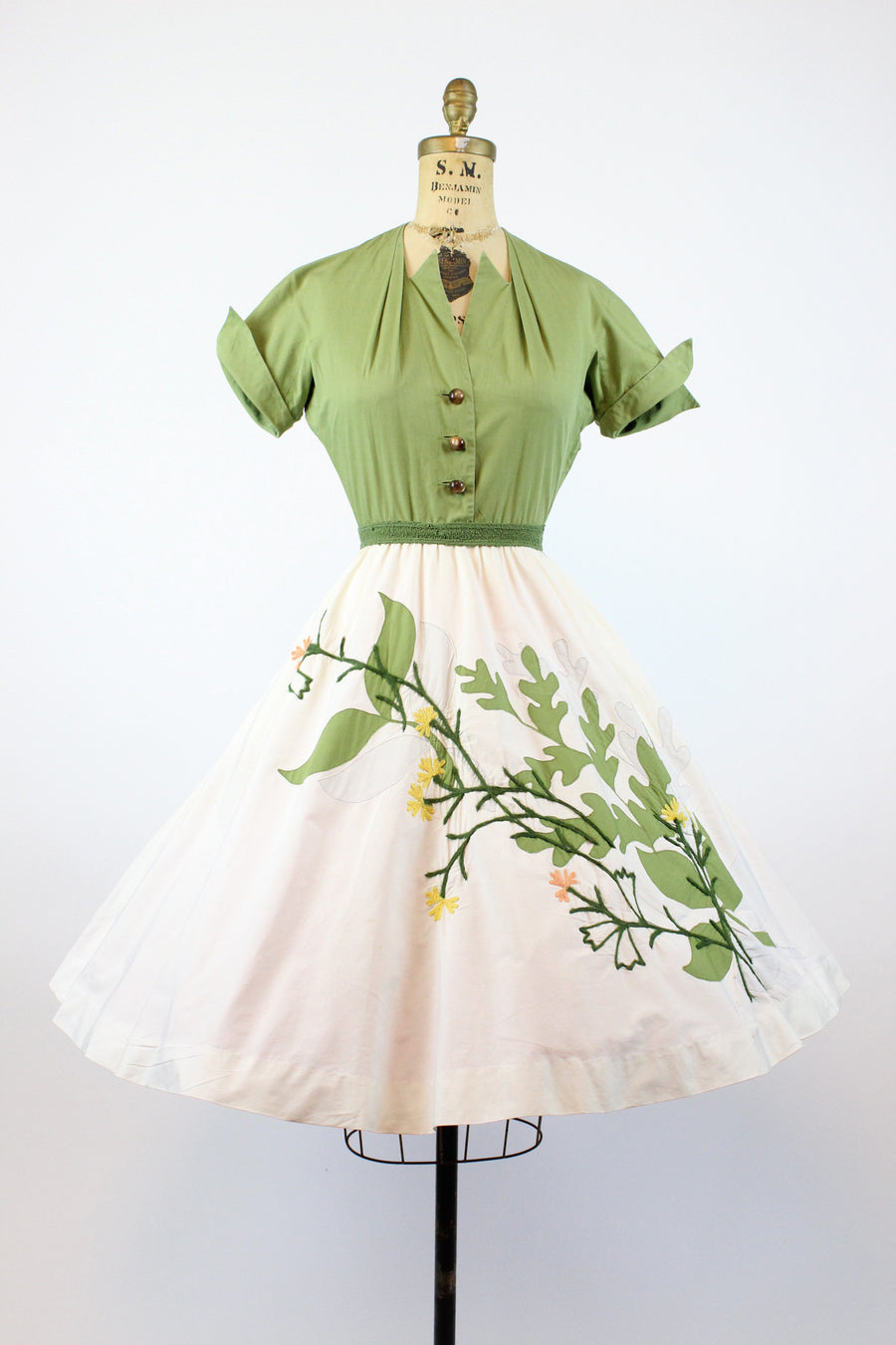 1950s Carlye embroidered dress xs | vintage applique circle skirt | new in