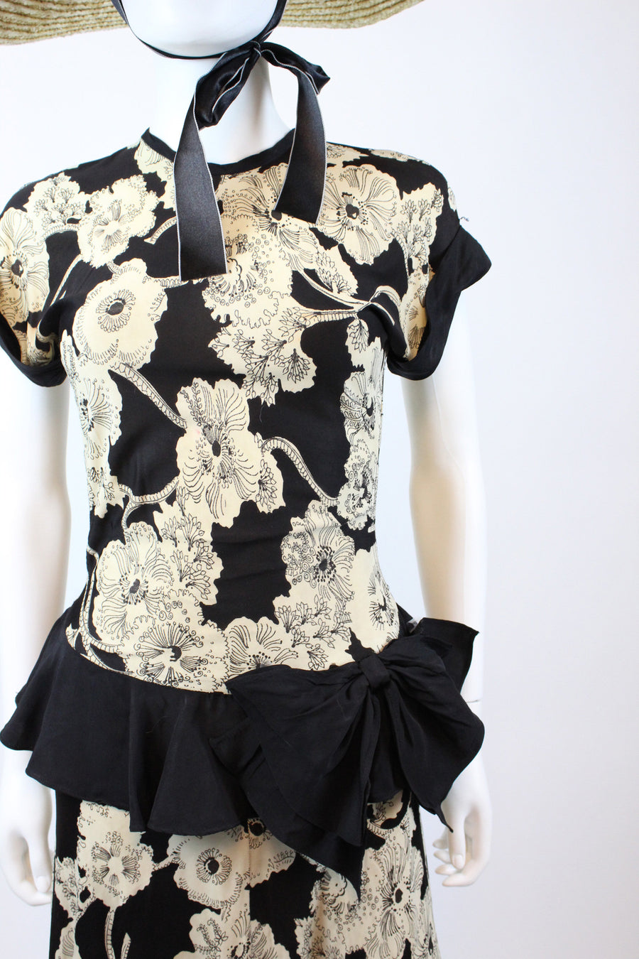 1940s rayon jersey floral dress xs | vintage sheer peplum dress | new in