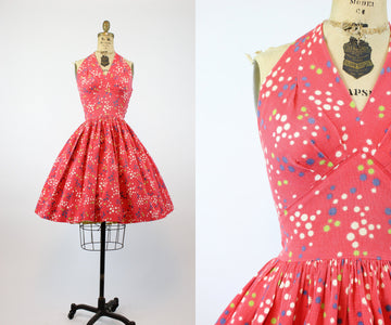 1950s firework print halter dress xxs | vintage cotton pique dress | new in
