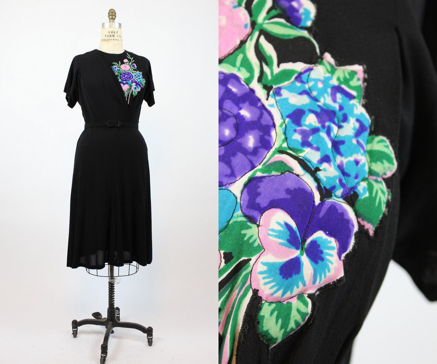 1940s quilted applique rayon dress large | vintage floral dress | new in
