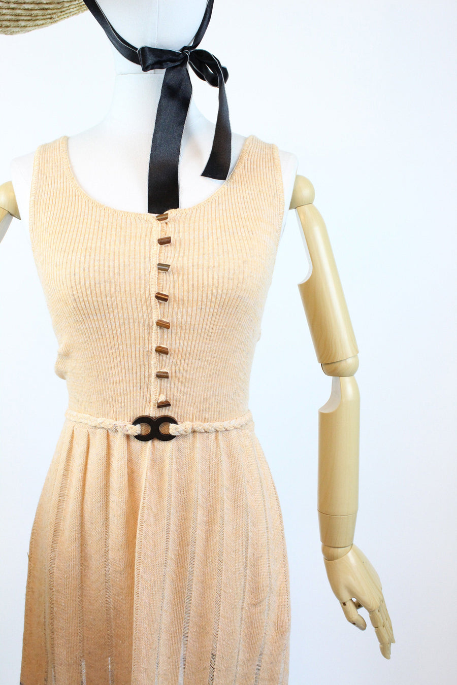 1970s knit chevron dress xs | vintage 70s does 30s dress | new in
