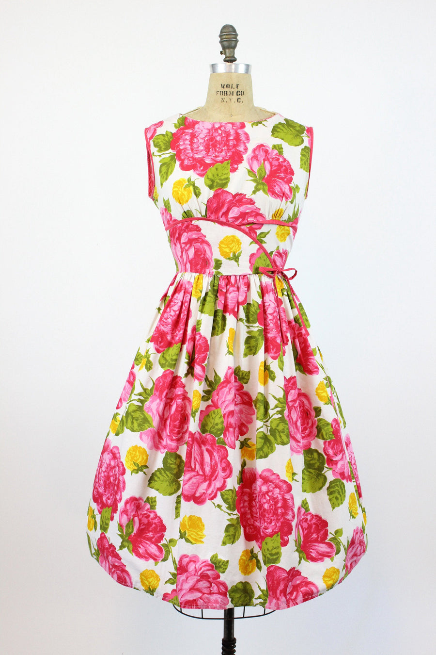 1950s rose cotton dress large | vintage floral print | new in