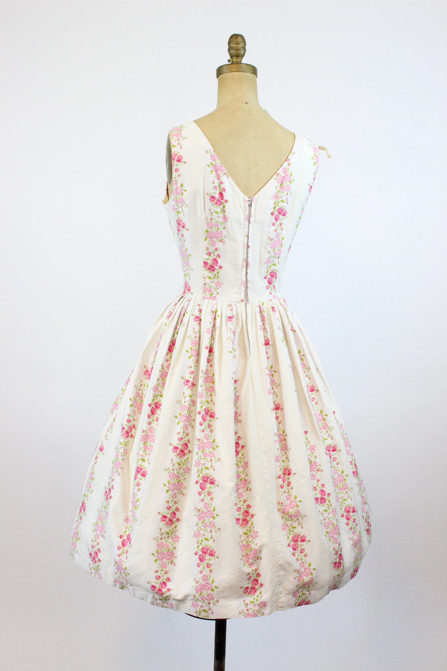 1950s rose print cotton dress medium | vintage floral dress | new in