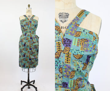 1950s VOLUP sarong dress with briefs extra large | vintage cotton wiggle dress | new in