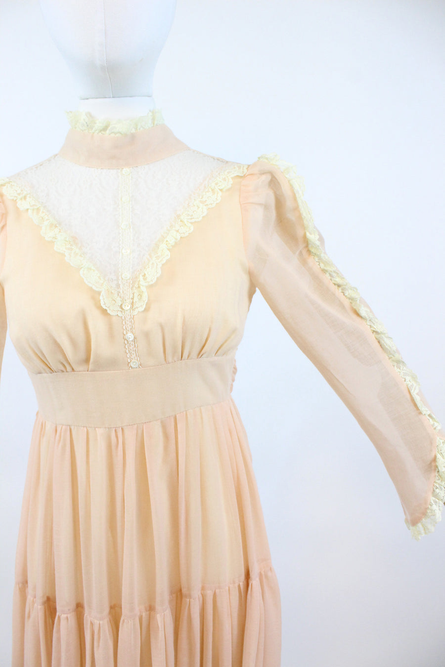 1970s Gunne Sax peach maxi dress xxs | vintage wedding dress | new in