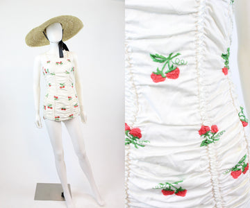 1950s RARE Jantzen strawberry swimsuit xs | vintage embroidered one piece | new in