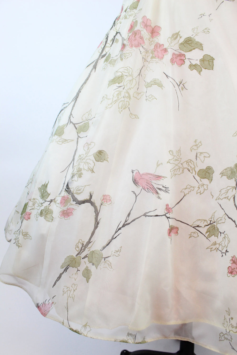 1950s bird and branch print dress small | vintage organza dress| new in