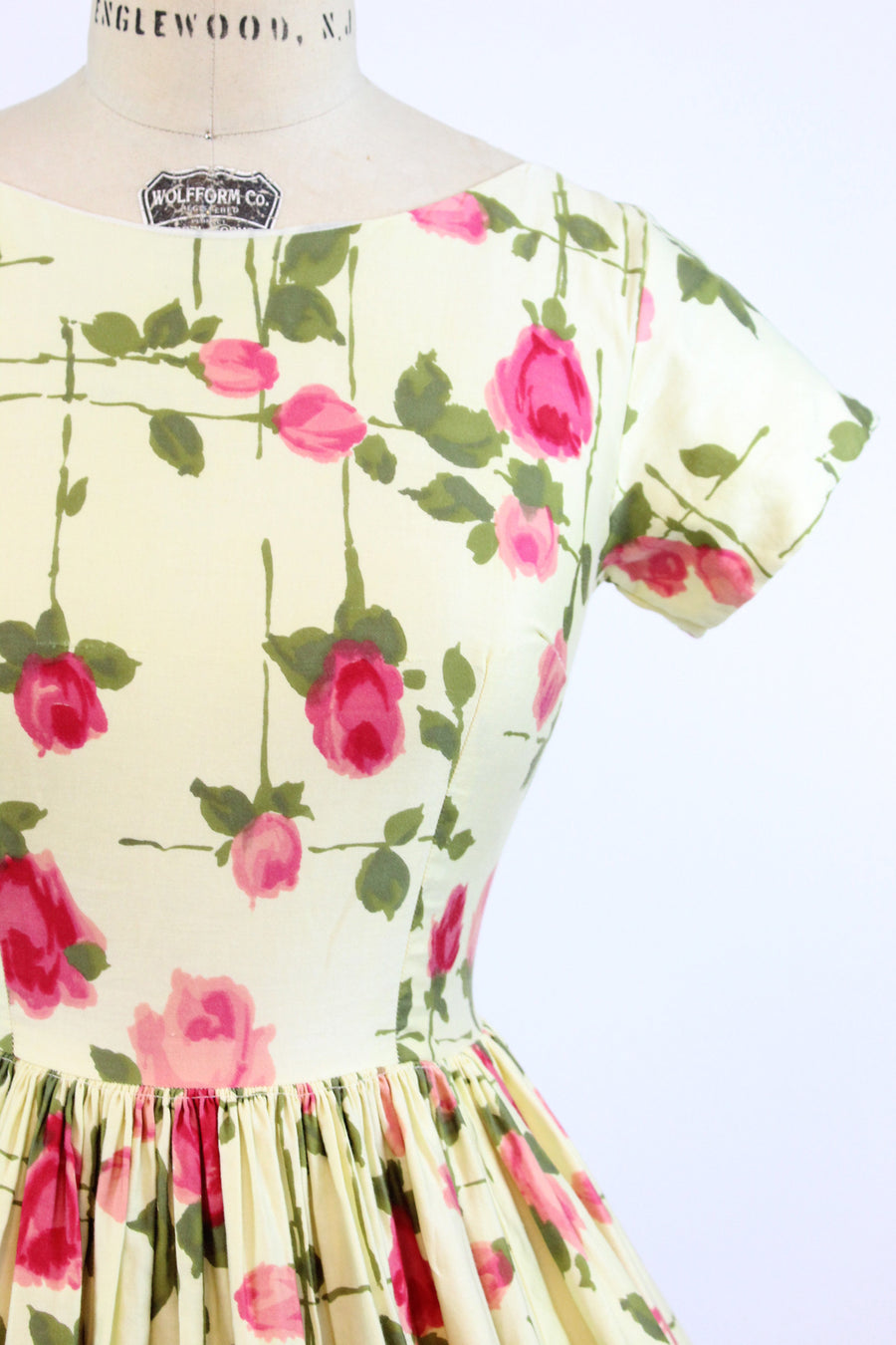 1950s rose print cotton dress xs | vintage floral print | new in