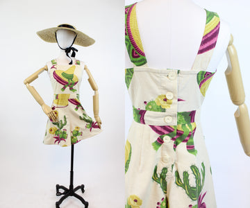 1940s novelty print fabric romper small | vintage cactus print shorts | new in